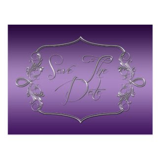Dark Purple Ornate Silver Save The Date