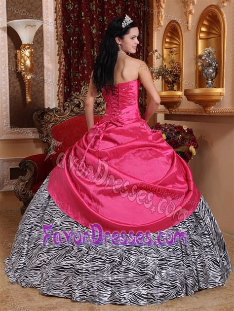 Beaded Hot Pink Sweet 16 Dresses in Taffeta and Zebra with