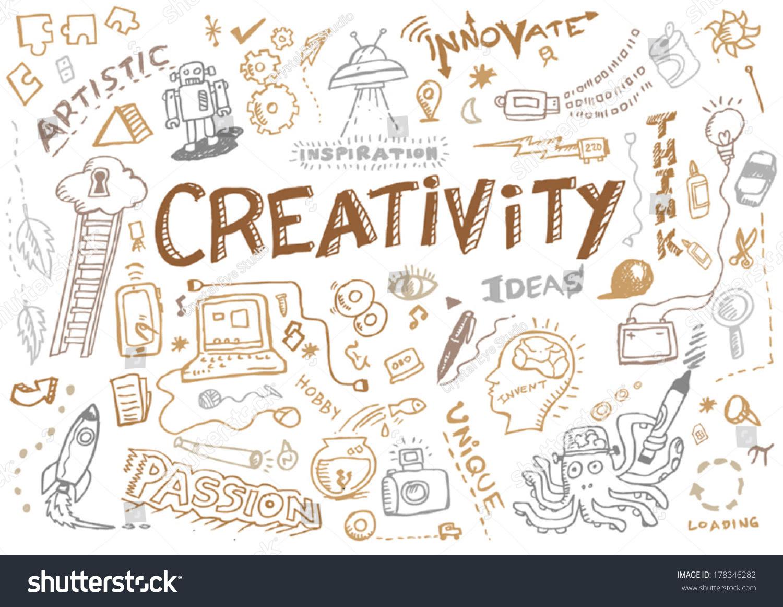 Creativity Innovation Doodle Collection Vector Editable Stock ...
