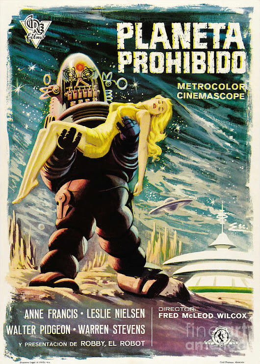 Spanish Version Of Forbidden Planet In Cinemascope Retro Classic Movie Poster by R Muirhead Art