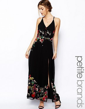 Image 1 of Jarlo Petite Floral Button Front Lace Insert Maxi