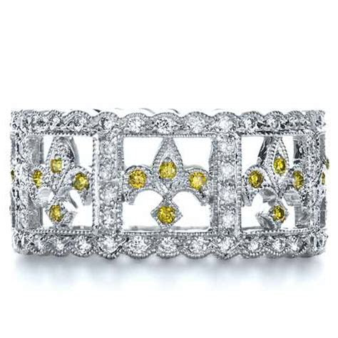 Fleur de Lis Yellow and White Diamond Women's Anniversary