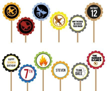 The Hunger Games- Printable DIY Custom Party Circle Cupcake Toppers