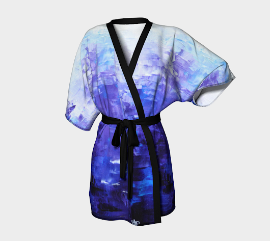 Abstract Indigo Blue Kimono Robe #1022 – Chakramoon Arts & Design