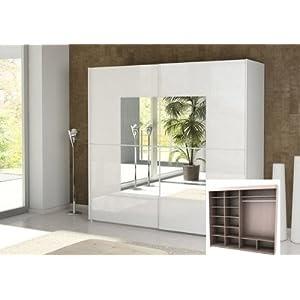 schwebet renschrank kleiderschrank p849al72 wei gl nzend mit spiegel kleiderschranke testsieger. Black Bedroom Furniture Sets. Home Design Ideas