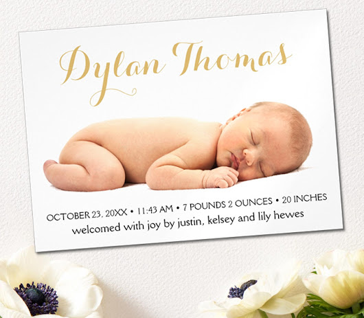 Simple Elegance Custom Photo Magnetic Birth Announcement