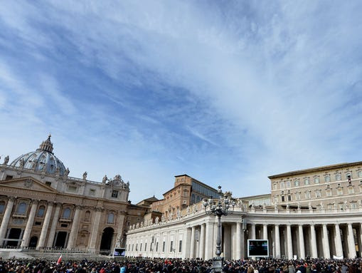 The crowd listens to Pope Francis at St. Peter's Square