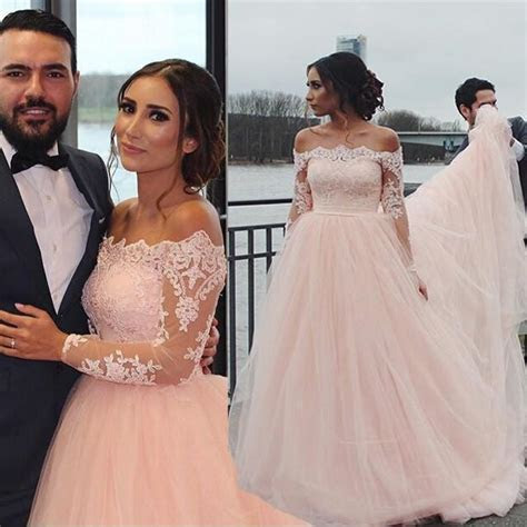 Vintage Blush Pink Wedding Dresses 2016 Off Shoulder Long