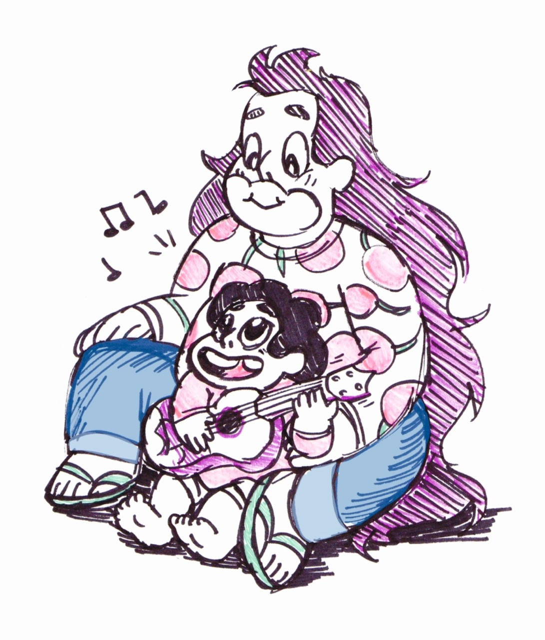Steven Universe 30 Day Art Challenge Day 8 - Favorite SU parent Greg, Greg, also Greg. I drew this with random sharpies so guitar dad has purple hair now. Don't judge.