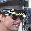Back on set: Tom Cruise wears military attire as he returns to filming in London with Robocop-esque warriors