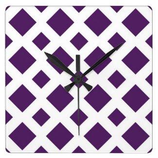 Purple Diamonds on White Wall Clock