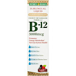 Nature's Bounty B-12, 5000 mcg, Sublingual Liquid, Natural Berry - 2 oz bottle