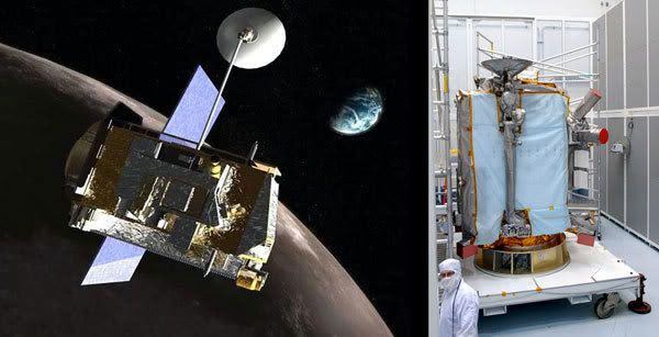 LEFT PIC: Artist's concept of the LUNAR RECONNAISSANCE ORBITER.  RIGHT PIC: The LRO spacecraft undergoing check-up at its Florida processing facility.