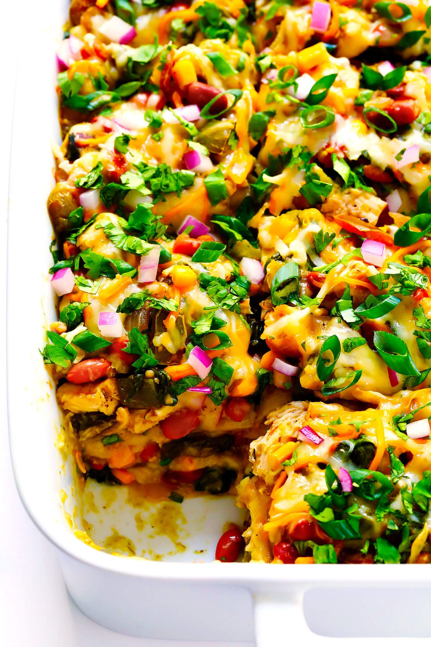Verde Chicken Enchilada Casserole Recipe with Green Enchilada Sauce