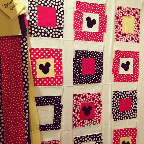 Progress in Disney quilt!  Embroidered 10 squares for front and back. Strips cut for the backing!