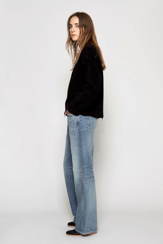 Le Fashion Blog Spring Style Simon Miller Black Frayed Hem Sweatshirt Wide Leg Jeans Mules Via My Chameleon