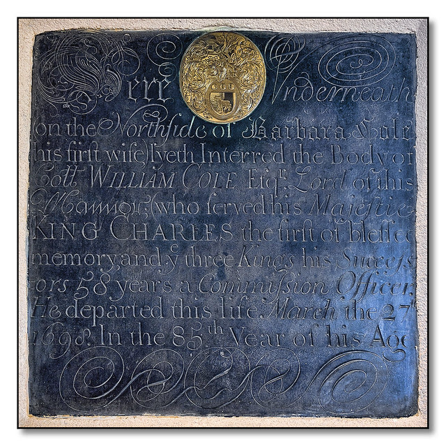 Ancient wall mounted memorial from 1698 (full transcript below), St Lukes Church, Laughton, Leicestershire