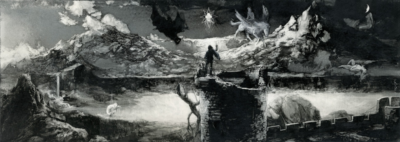 MANFRED CONJURING THE SPIRITS Santiago Caruso / Ink & scratching over paper / 74cm x 26, 3cm / 2012