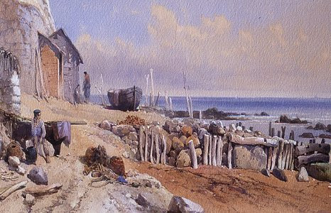 'Bonchurch,Isle of Wight' by Thomas Leeson Rowbotham, 1863. Many Victorian artists painted cliffs, beaches and coastal defences in precise detail.