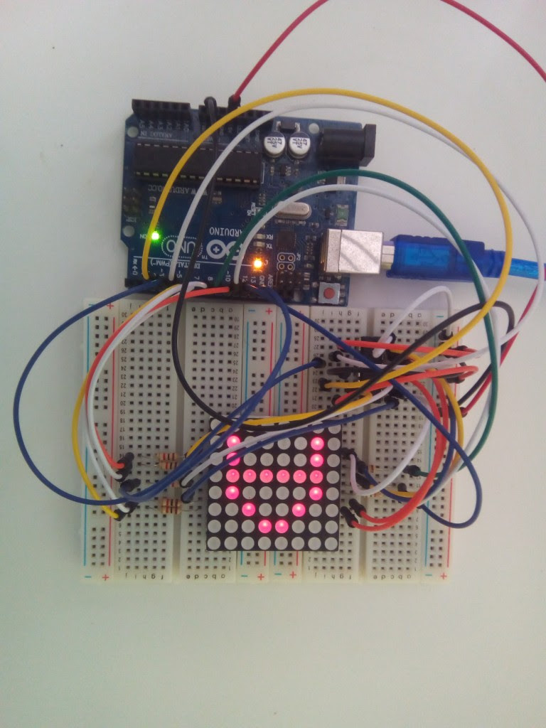 8x8 LED Matrix Interface with Arduino - Breadboard Circuit
