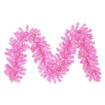 """9' x 12"""" Pre-Lit Hot Pink Tinsel Artificial Christmas Garland - Pink Lights by Christmas Central"""