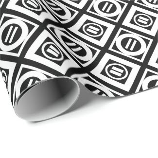 White Equal Sign Geometric Pattern on Black Wrapping Paper