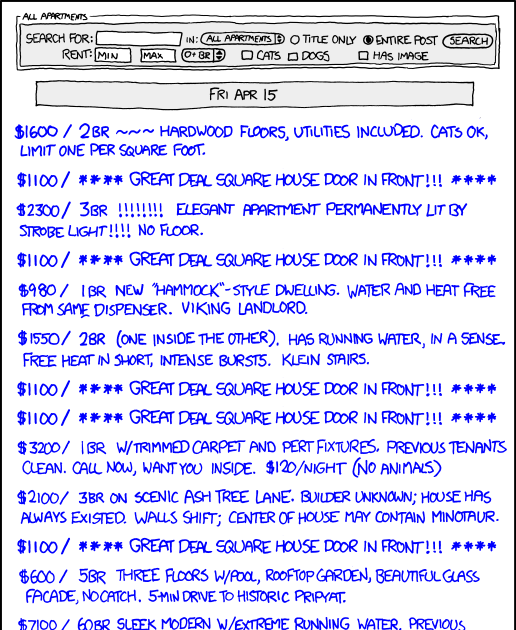 Craigs List Apartments: Xkcd Sucks: Comic 886: Here Is A List Of Jokes