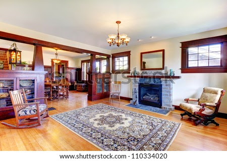 Beautiful Old Craftsman Style Home Living Room Interior With ...