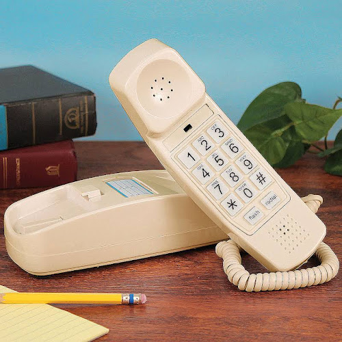 Golden Eagle Electronics Trimline Corded Telephone - Design from 60s with Modern Electronics (ivory)