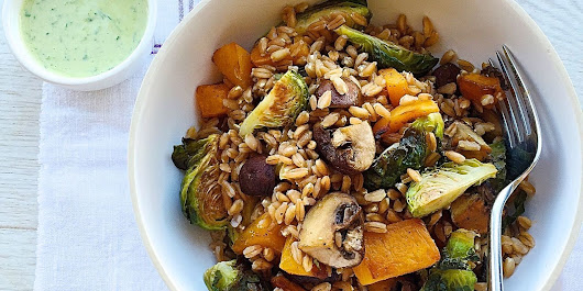 Roasted Fall Veggie Bowl with Green Tahini Sauce