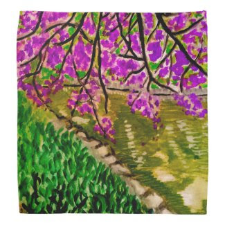 Cherry Blossom Impressionism Art on Bandana