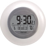 Taylor Wall Clock with Thermometer, Atomic White