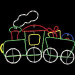 """Northlight 32"""" Neon Style LED Lighted Animated Train Outdoor Christmas Yard Decoration"""