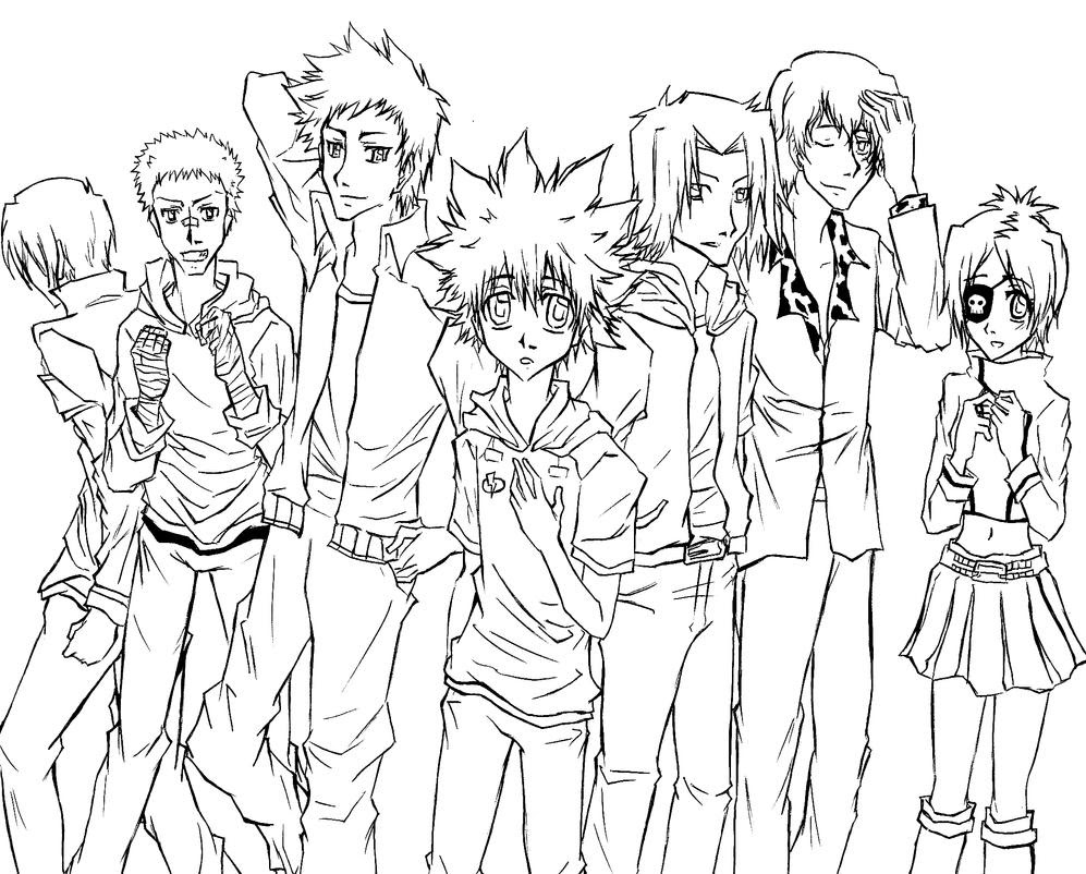 Four Anime Best Friends Forever Coloring Page ...