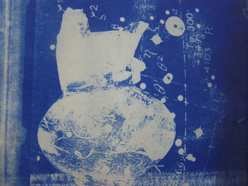 Cyanotype : Artist's Book, Paul Soldner pot with astronomical data.  by Russell Moreton