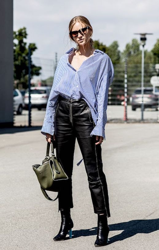 Le Fashion Blog Sunglasses Striped Button Up Shirt Leather Wide Leg Pants Via Sandra Semburg Street Style