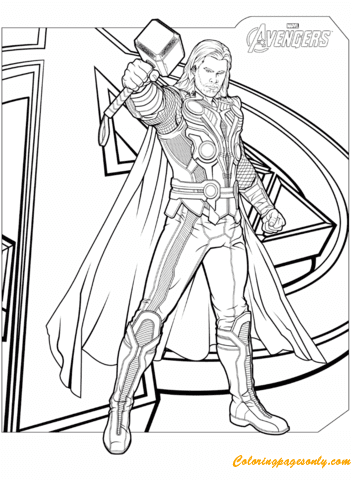avengers thor with hammer mjolnir coloring page  free coloring pages online