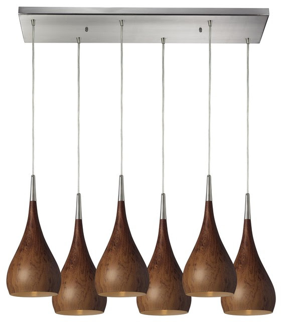 Lindsey 6 Light Pendant In Burl Wood And Satin Nickel - modern ...
