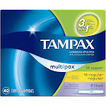 Tampax Cardboard Applicator Super, Regular, Lites Unscented Multipax Tampons 40 ct Box
