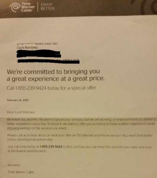 "Time Warner changes customer's name to ""C*nt Martinez"""