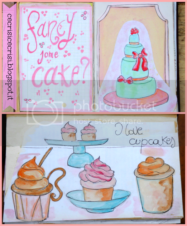 cup cakes art journal mixed media