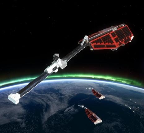 La misión 'Swarm' está integrada por tres satélites de observación...