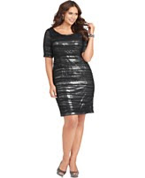 Adrianna Papell Plus Size Dress, Short Sleeve Ruched Sequined