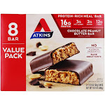 Atkins ProteinRich Meal Bars Box Value Pack Chocolate Peanut Butter 8 Bars