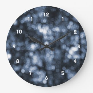 Blue Bokeh Round Clocks