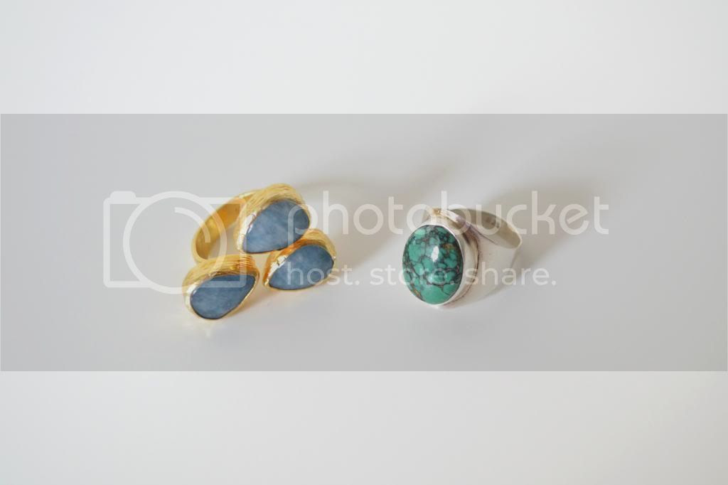 Fashion Blog Gold Silver Turquoise Rings