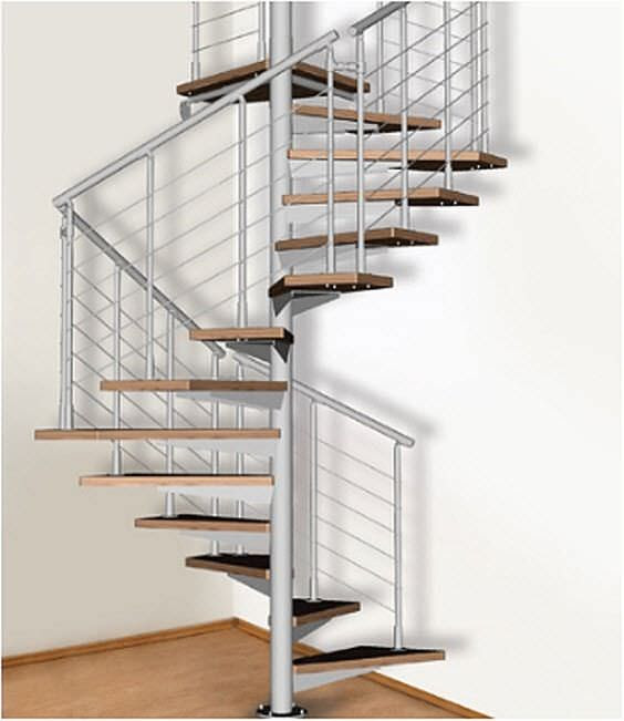 Square spiral staircase (metal frame and wooden steps) - ATRIUM ...