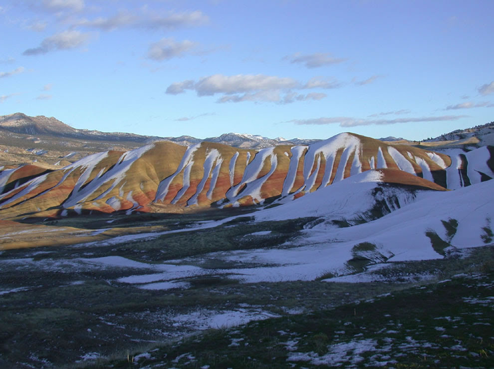 snow on the Painted Hills