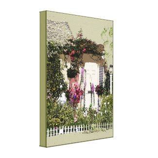 Cottage Foxglove Garden Wrapped Canvas Canvas Prints