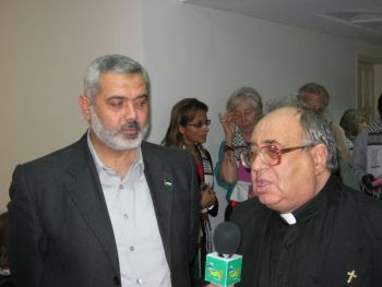 Gaza 2007: Prime minister Ismail Haniyeh and Fr Manuel Musallam face the TV cameras during our visit.